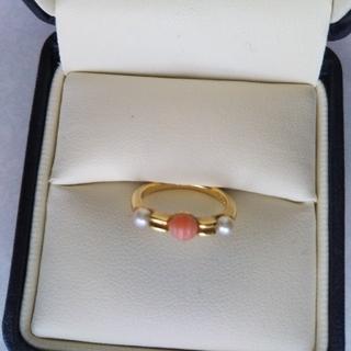 クリスチャンディオール(Christian Dior)の【特価】ディオール珊瑚&ベビーパールリング9号(リング(指輪))