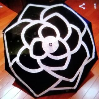 シャネル(CHANEL)のCHANEL   アンブレラ  ブラック×ホワイトカメリア(傘)