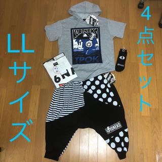 シマムラ(しまむら)の新品 96猫 パーカー&Tシャツ&サルエルパンツ&靴下 4点セット LLしまむら(ミュージシャン)