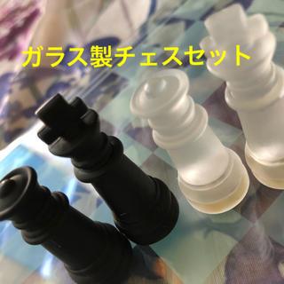 ガラス製チェスセット(14cm×14cm)ホワイト&ブラック(オセロ/チェス)