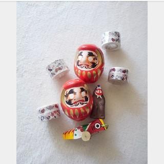 ムジルシリョウヒン(MUJI (無印良品))の無印良品 福缶 だるま 縁起物 マスキングテープセット(置物)