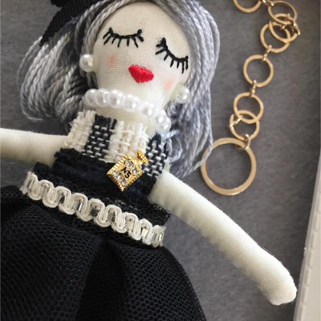 ルルベちゃん シャネルツイード使用 バッグチャーム ハンドメイドのファッション小物(バッグチャーム)の商品写真