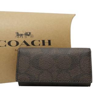 コーチ(COACH)のコーチ シグネチャー 4連キーケース 鍵 小物 マホガニー18586(キーケース)