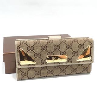 グッチ(Gucci)のA348 グッチ GGキャンバス Wホック 長財布 181895 レディース(財布)