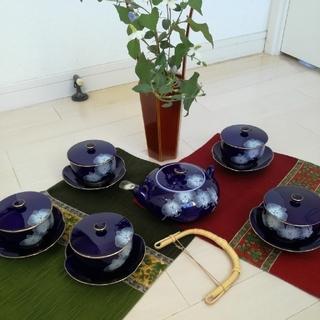 香蘭社  ルリ胡蝶蘭 茶器揃(茶托付)