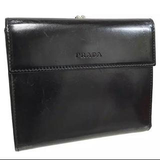 プラダ(PRADA)のPRADA♡がま口三つ折り財布♡ネロ(財布)