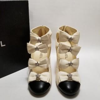 シャネル(CHANEL)の専用Chanel シャネル ロゴ バイカラー アンクルブーツ サンダル パンプス(ブーツ)