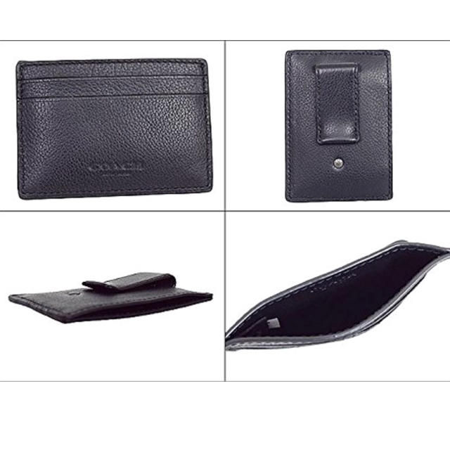 online retailer 2aab0 3460d コーチ マネークリップ付きカードケース レザー 黒