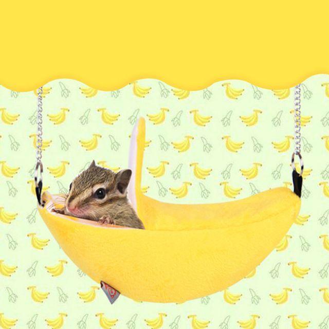小動物用 ハムスター モルモット モモンガ チンチラ バナナベット♪ イエロー その他のペット用品(小動物)の商品写真