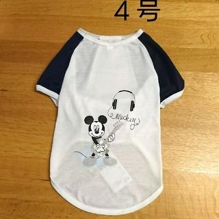 ディズニー(Disney)の【新品】4号 ミッキー Tシャツ ホワイト&ネイビー 犬服(犬)