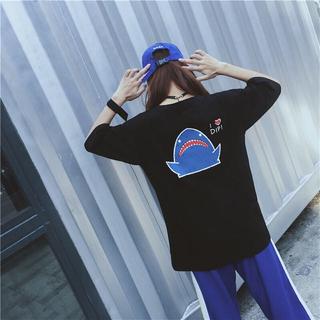 韓国ファッション 人気 サメ Tシャツ(Tシャツ(半袖/袖なし))