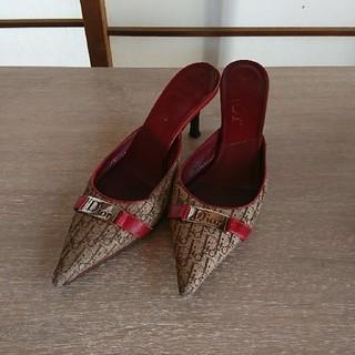 クリスチャンディオール(Christian Dior)のクリスチャンディオール・赤・ミュールサイズ37(ミュール)