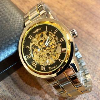 ☆大特価!フルスケルトンWINNERメンズ 自動巻き腕時計♪黒×金×コンビ(金属ベルト)