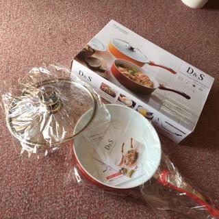 調理が楽しくなる ガラス蓋付きフライパン【新品・未使用】(鍋/フライパン)
