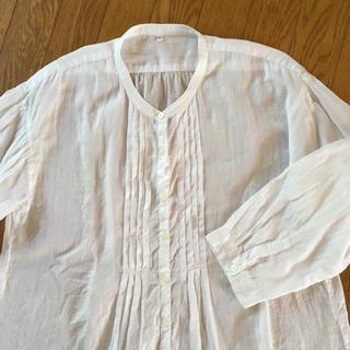 ムジルシリョウヒン(MUJI (無印良品))の無印良品 ブラウス 白 サイズL 美品 綿100% 薄手(シャツ/ブラウス(長袖/七分))