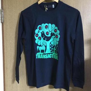 トランザクション(transaction)のtrans action フロッキープリント ビーズ加工 ロングTシャツ 新品(Tシャツ/カットソー(七分/長袖))