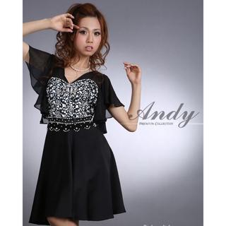 アンディ(Andy)のアンディ ドレス ブラック 半袖 ビジュー フリル 黒 キャバドレス(ナイトドレス)