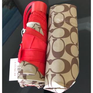 コーチ(COACH)のCOACH シグネチャー ミニアンブレラ 折り畳み傘 新品(傘)