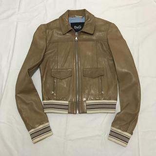 ディーアンドジー(D&G)のD&G 革ジャケット 42 ベージュ 裏地 シャツ生地 ブルーストライプ (ブルゾン)