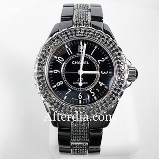 シャネル(CHANEL)のシャネル J12 メンズ H0684 ブラックアフターダイヤ 鑑別付 天然ダイヤ(腕時計(アナログ))