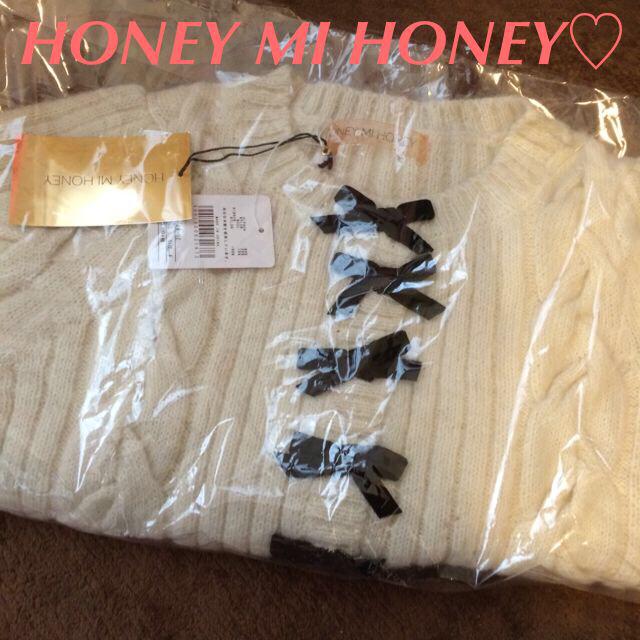 Honey mi Honey(ハニーミーハニー)のHONEYMIHONEY新品リボンカーデ レディースのトップス(カーディガン)の商品写真