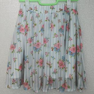 ハニーズ(HONEYS)の花柄ストライプスカート(ひざ丈スカート)