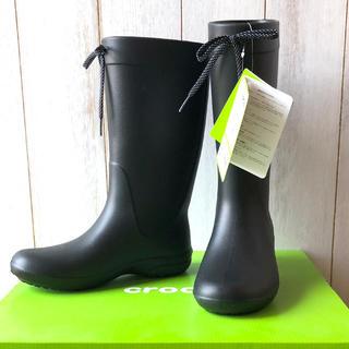 クロックス(crocs)の★靴箱付新品★クロックス 超軽量 レインブーツ フリーセイル ブラック 21cm(レインブーツ/長靴)