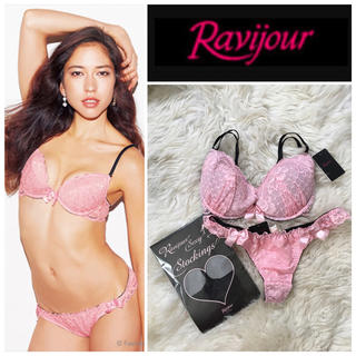ラヴィジュール(Ravijour)のラヴィジュール 総額9000円 ブラ&Tバッグ E65 ピンク レース (ブラ&ショーツセット)
