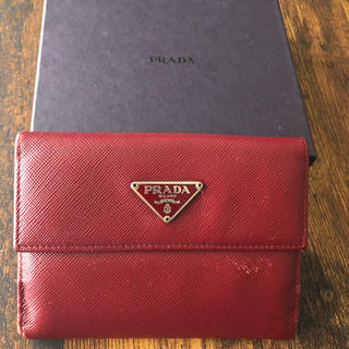 プラダ(PRADA)のプラダ 赤 財布 箱付き(財布)