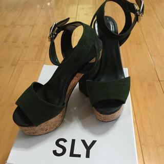 スライ(SLY)のSLY コルクサンダル グリーン(サンダル)