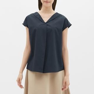 ジーユー(GU)の【新品タグ付き】GU オープンネックシャツ(半袖)LR ネイビー Mサイズ(シャツ/ブラウス(半袖/袖なし))