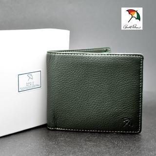 アーノルドパーマー 二つ折り 財布 グリーン 緑 鹿革 牛革 レザー
