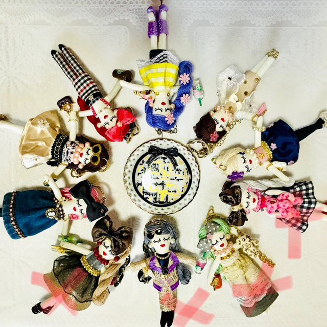ルルベちゃんバックチャームドール     ショールスタイル ハンドメイドのファッション小物(バッグチャーム)の商品写真