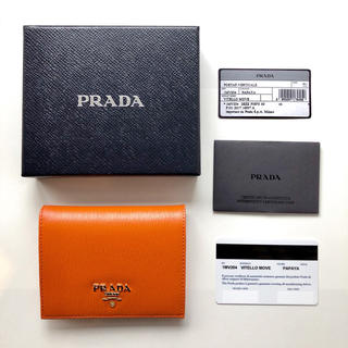 プラダ(PRADA)の新品 プラダ ミニ財布 オレンジ(財布)
