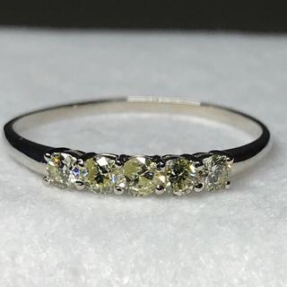 K18WG  18金ホワイトゴールド  レモンイエロー天然ダイヤ ソーティング付(リング(指輪))