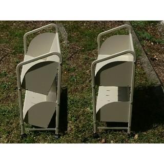2段スチールワゴン スチールラック 本棚 ブックシェルフ(マガジンラック)