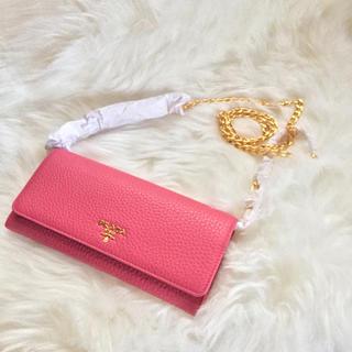プラダ(PRADA)の♡新品♡PRADA プラダ チェーンウォレット 長財布 ピンク ショルダー(財布)