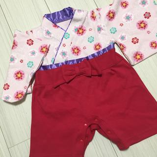 ✨新品✨袴ロンパース  ピンク 赤 60 70 女の子(和服/着物)