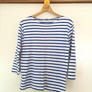 ユニオンステーション(UNION STATION)のメンズ ブルーのボーダーシャツ(Tシャツ/カットソー(七分/長袖))