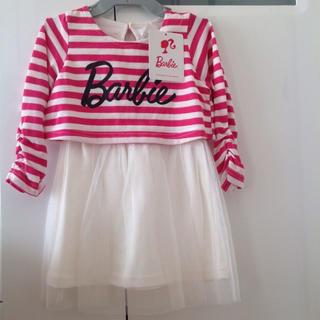 バービー(Barbie)の新品 Barbie 子供 チュール付き ワンピース 90 ⭐️ キッズ 女の子(ワンピース)
