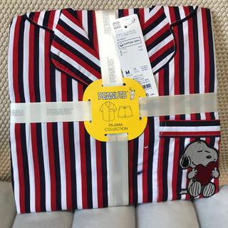 ジーユー(GU)のGUコットンパジャマ半袖ショートパンツスヌーピーストライプネイビー(パジャマ)
