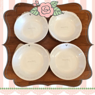 コレール(CORELLE)の☆コレール☆ミッキー☆ディズニーコレール☆ミッキー・シルエット☆深皿4枚セット☆(食器)
