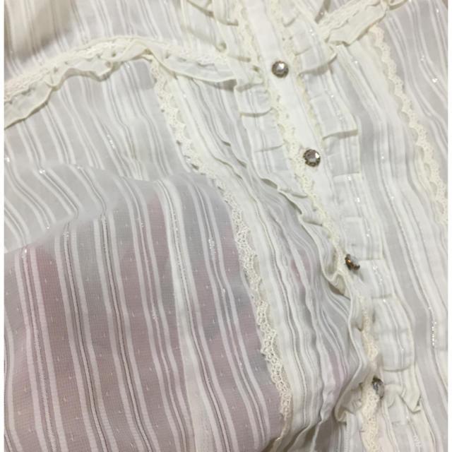 axes femme(アクシーズファム)のaxes白パフスリブラウス◆アクシーズ レディースのトップス(シャツ/ブラウス(半袖/袖なし))の商品写真