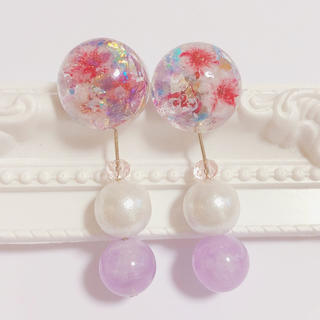 【最終価格】pink flower × stone × pearl pierce(ピアス)