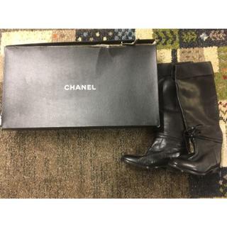 シャネル(CHANEL)のシャネル ロング ブーツ 黒 (37376)(ブーツ)