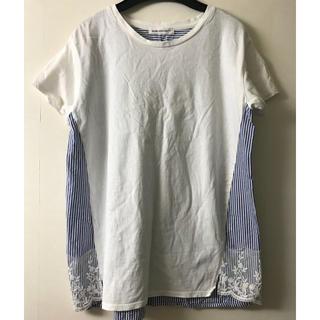 ビーエルユーイー(B.L.U.E.)のレースとストライプT(Tシャツ(半袖/袖なし))