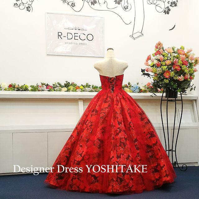 ウエディングドレス 赤い花柄チュールかけ 披露宴 レディースのフォーマル/ドレス(ウェディングドレス)の商品写真