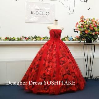 ウエディングドレス 赤い花柄チュールかけ 披露宴(ウェディングドレス)