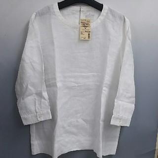 ムジルシリョウヒン(MUJI (無印良品))の新品 無印良品 フレンチリネン洗いざらし 七分袖ブラウス・白・XL(シャツ/ブラウス(長袖/七分))