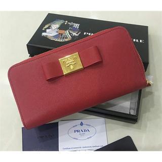 プラダ(PRADA)のPRADA プラダ レディース ファスナー長財布 レッド(財布)